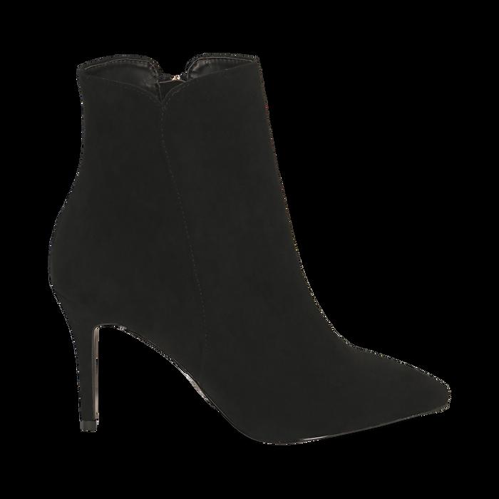 Ankle boots a punta neri in microfibra, tacco 8,5 cm , Stivaletti, 141764344MFNERO035