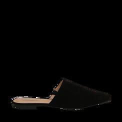 Mules flat nere in microfibra con punta affusolata, Scarpe, 134921861MFNERO036, 001a