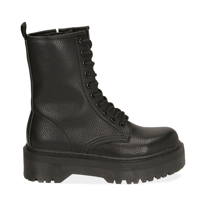 Botas militares en color negro con procesamiento caído, Primadonna, 162831293ELNERO035