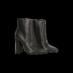Tronchetti neri con punta affusolata, tacco 10,5 cm, Scarpe, 128485105EPNERO, 002 preview