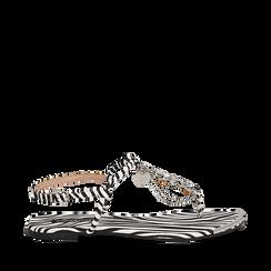 Sandali infradito flat zebra print in microfibra, con catenelle, Primadonna, 134909285MFZEBR035, 001a
