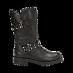 Biker boots con fibbie e borchie neri in eco-pelle, tacco 4 cm , Stivaletti, 14A719671EPNERO036, 001 preview