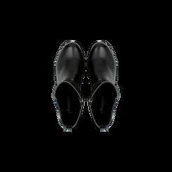 Biker city neri con fascia elastica e cinturino borchiato, Scarpe, 129300120EPNERO, 004 preview