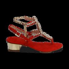 Sandalias en microfibra con pedrería color coral, tacón 3,5 cm , OPORTUNIDADES, 154927101MFCORA036, 001 preview