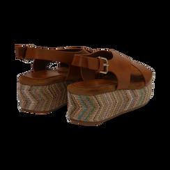 Sandali platform cuoio in eco-pelle, zeppa intrecciata 5 cm, Primadonna, 132117952EPCUOI035, 004 preview