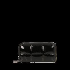 Portefeuille noir en vernis, Primadonna, 165122519VENEROUNI, 001a