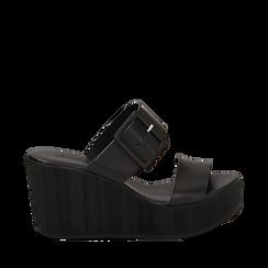Mules platform nere in eco-pelle, zeppa 8 cm , Primadonna, 13C700252EPNERO035, 001a