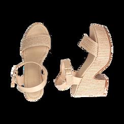 Sandali beige in rafia, tacco-zeppa 10 cm , Chaussures, 154955172RFBEIG036, 003 preview