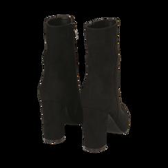 Ankle bottes en microfibre noir, talon 9,50 cm, Promozioni, 163026508MFNERO035, 003 preview