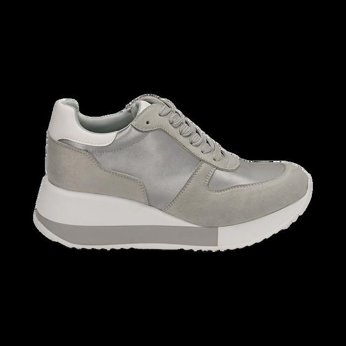 Dad Shoes en satin gris, Chaussures, 152821511RSGRIG036
