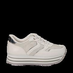 Sneakers flatform bianche in eco-pelle, zeppa 4 cm, Scarpe, 139300004EPBIAN035, 001a