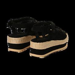 Sandali platform neri in microfibra, zeppa in rafia 5 cm , Primadonna, 134996275MFNERO035, 004 preview
