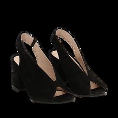 Slingback nere in camoscio, tacco 8 cm , Primadonna, 13D602014CMNERO036, 002a