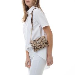Mini-bag beige in eco-pelle effetto snake skin, 133322235PTBEIGUNI, 002a