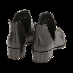Botines en piel color negro, tacón 3 cm, Zapatos, 159407601PENERO036, 004 preview