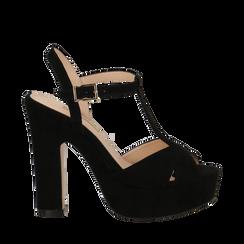 Sandali con plateau neri in microfibra, tacco 13 cm, Sandali con tacco, 138404162MFNERO035, 001a