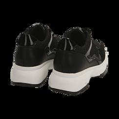 Sneakers nere glitter, zeppa 5 cm , Primadonna, 162800482GLNERO035, 004 preview