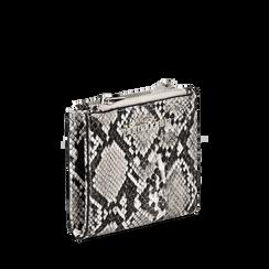 Portafogli quadrato bianco/nero in eco-pelle effetto snake skin, Borse, 132300001PTBINEUNI, 002a