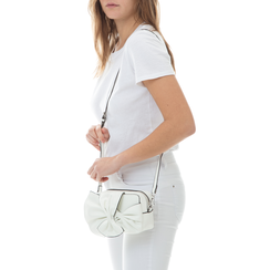 Camera bag bianca in eco-pelle con fiocco,