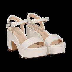 Sandali con plateau bianchi in eco-pelle, tacco 9 cm , Sandali con tacco, 138402256EIBIAN037, 002 preview