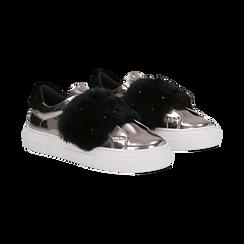Sneakers canna di fucile Slip-on con dettagli faux-fur e borchie, Primadonna, 126103025SPCANN, 002 preview