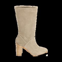 Stivali taupe in camoscio, tacco 9 cm, Scarpe, 158900891CMTAUP036, 001 preview