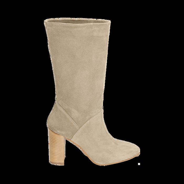 Stivali taupe in camoscio, tacco 9 cm, Scarpe, 158900891CMTAUP036