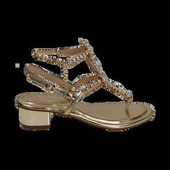 Sandalias en eco-piel laminada con pedrería color dorado, tacón 3,5 cm , OPORTUNIDADES, 154927101LMOROG036, 001 preview
