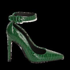 Décolleté verdi in eco-pelle effetto coccodrillo, tacco 11 cm , Scarpe, 142182061CCVERD035, 001a