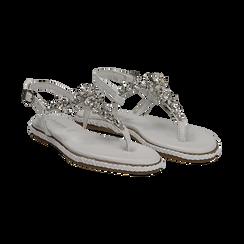Sandali bianchi in pelle con strass, Primadonna, 136200941PEBIAN036, 002 preview