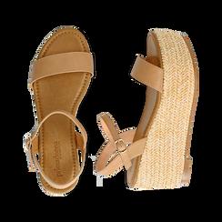 Sandali platform cuoio in eco-pelle, zeppa in corda 8 cm, Saldi Estivi, 134983293EPCUOI035, 003 preview
