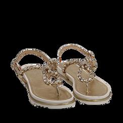 Sandali infradito oro laminato con pietre , Chaussures, 154950098LMOROG036, 002a