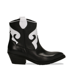 Stivaletti Camperos neri in vera pelle con inserti bianchi, tacco 5,5 cm, Primadonna, 129000040VINEBI036, 001a