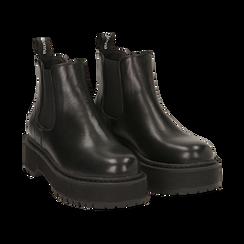 Chelsea boots neri, platform 5 cm , Primadonna, 160619239EPNERO035, 002 preview
