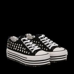Sneakers nere in canvas con borchie, platform 4 cm, Scarpe, 132619223CANERO035, 002a