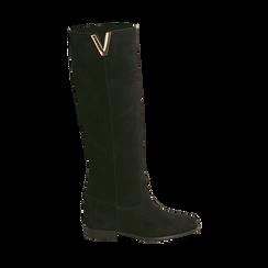Stivali neri in camoscio con decoro metallico, Primadonna, 16A500090CMNERO036, 001 preview