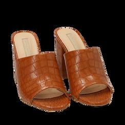Mules cuoio in eco-pelle cocco print, tacco 9 cm , Zapatos, 152783430CCCUOI036, 002a