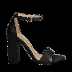 Sandali minimal neri in eco-pelle, tacco 10,5 cm , Scarpe, 132133791EPNERO035, 001a