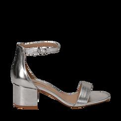 Sandali argento in laminato, tacco 5,50 cm , Primadonna, 132707031LMARGE035, 001a