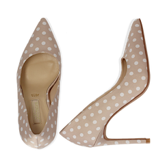 Décolleté nude in raso a pois bianchi, tacco 10,5 cm, Scarpe, 132166025RSNUDE035, 003 preview