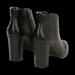 Ankle boots neri stampa vipera, tacco 9 cm , Primadonna, 164916101EVNERO039, 004 preview