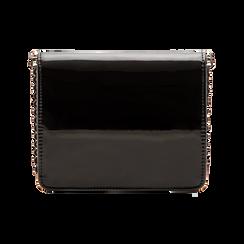 Pochette con tracolla nera in ecopelle vernice, profili mini-borchie, Saldi Borse, 123308852VENEROUNI, 002 preview