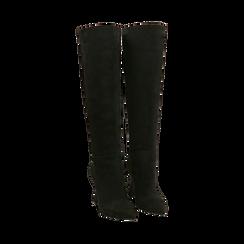 Stivali neri in microfibra, tacco 10 cm, Primadonna, 16G890321MFNERO035, 002 preview
