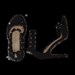 Sandali neri in microfibra, tacco a stiletto 11 cm, Sandali con tacco, 132120685MFNERO035, 003 preview