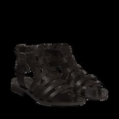 Sandali flat neri in pelle, Primadonna, 138100803VANERO035, 002a