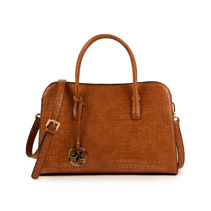 Bolsa de mano en eco-piel con estampado de cocodrilo color cuero, Bolsos, 155702495CCCUOIUNI
