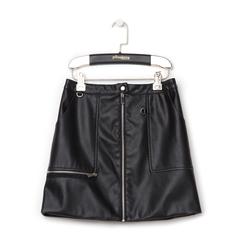 Minigonna nera in eco-pelle con zip, Saldi Estivi, 136501801EPNEROL, 001 preview