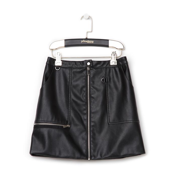 Minigonna nera in eco-pelle con zip, Saldi Estivi, 136501801EPNEROL