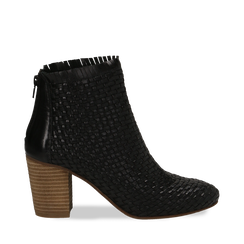 Ankle boots neri in pelle intrecciata, tacco 8 cm, Saldi Estivi, 13C515018PINERO035, 001a