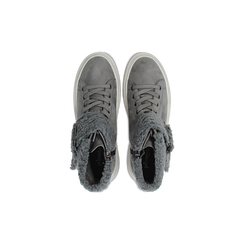 Sneakers grigie con risvolto in eco-shearling, Scarpe, 124110063MFGRIG, 004 preview